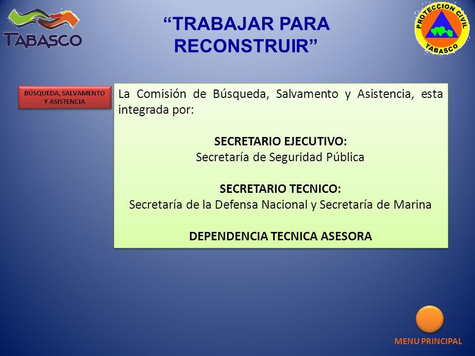 La Comisión de Búsqueda, Salvamento y Asistencia, esta integrada por: SECRETARIO EJECUTIVO: Secretaría de Seguridad Pública SECRETARIO TECNICO: Secret
