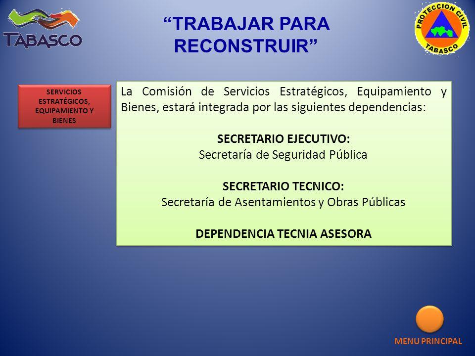 La Comisión de Servicios Estratégicos, Equipamiento y Bienes, estará integrada por las siguientes dependencias: SECRETARIO EJECUTIVO: Secretaría de Se