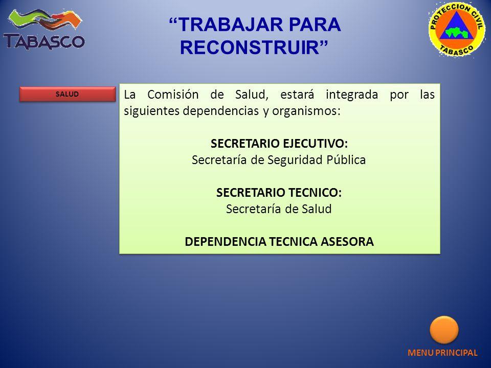 La Comisión de Salud, estará integrada por las siguientes dependencias y organismos: SECRETARIO EJECUTIVO: Secretaría de Seguridad Pública SECRETARIO