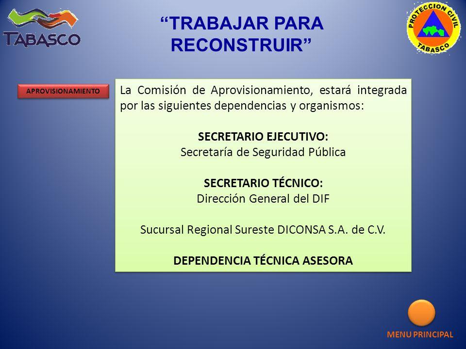 La Comisión de Aprovisionamiento, estará integrada por las siguientes dependencias y organismos: SECRETARIO EJECUTIVO: Secretaría de Seguridad Pública