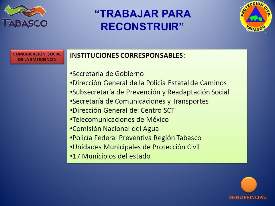 INSTITUCIONES CORRESPONSABLES: Secretaría de Gobierno Dirección General de la Policía Estatal de Caminos Subsecretaría de Prevención y Readaptación So