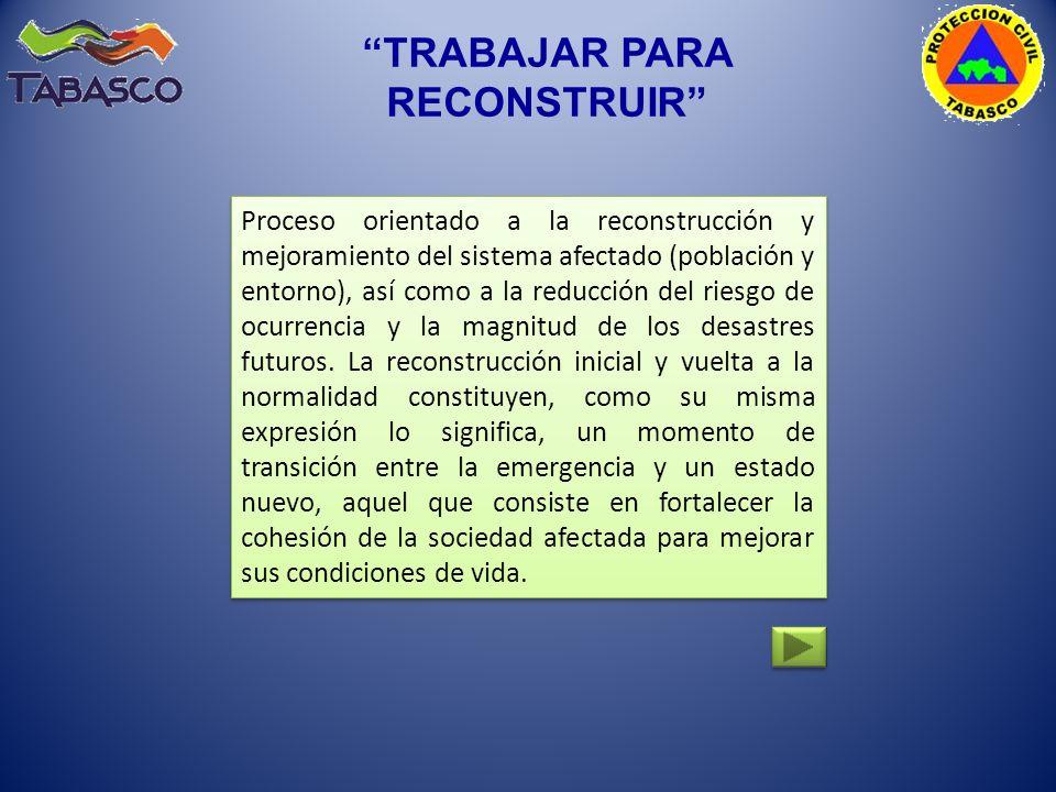 Proceso orientado a la reconstrucción y mejoramiento del sistema afectado (población y entorno), así como a la reducción del riesgo de ocurrencia y la