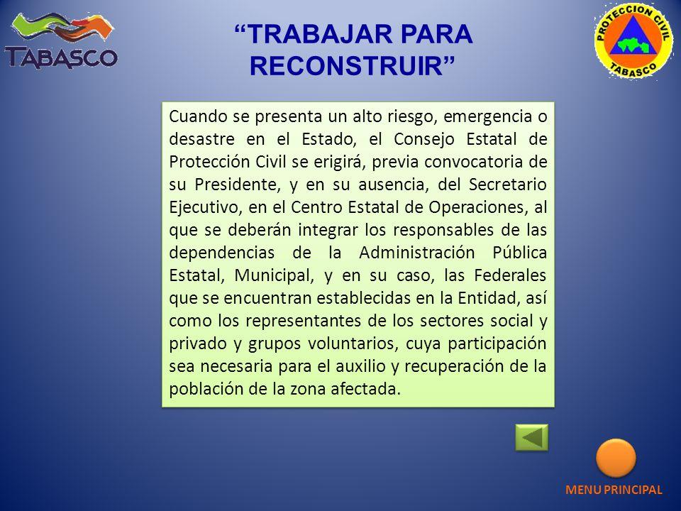 Cuando se presenta un alto riesgo, emergencia o desastre en el Estado, el Consejo Estatal de Protección Civil se erigirá, previa convocatoria de su Pr