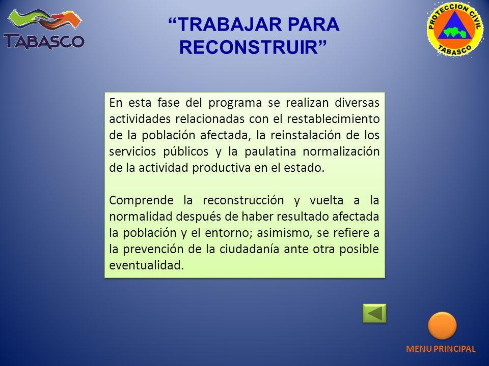 En esta fase del programa se realizan diversas actividades relacionadas con el restablecimiento de la población afectada, la reinstalación de los serv