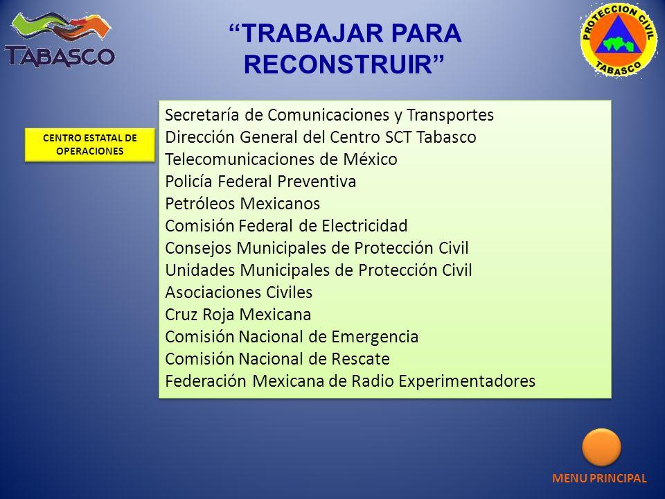 Secretaría de Comunicaciones y Transportes Dirección General del Centro SCT Tabasco Telecomunicaciones de México Policía Federal Preventiva Petróleos