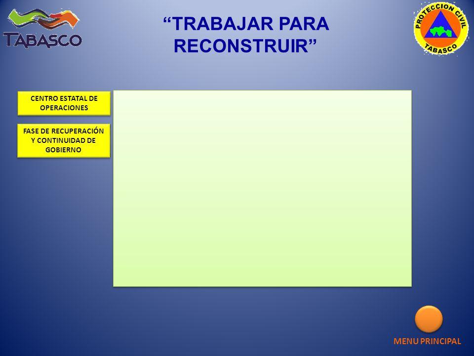 MENU PRINCIPAL CENTRO ESTATAL DE OPERACIONES CENTRO ESTATAL DE OPERACIONES FASE DE RECUPERACIÓN Y CONTINUIDAD DE GOBIERNO FASE DE RECUPERACIÓN Y CONTI