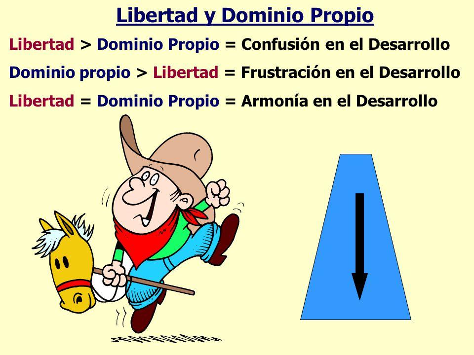 Libertad y Dominio Propio Libertad > Dominio Propio = Confusión en el Desarrollo Dominio propio > Libertad = Frustración en el Desarrollo Libertad = D