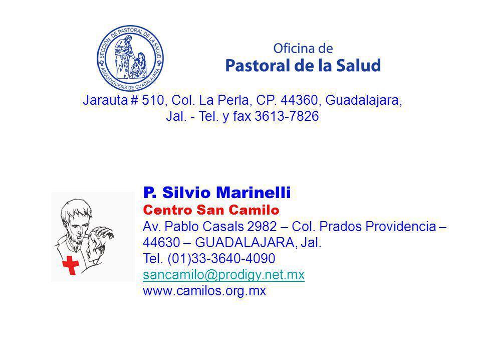 P. Silvio Marinelli Centro San Camilo Av. Pablo Casals 2982 – Col. Prados Providencia – 44630 – GUADALAJARA, Jal. Tel. (01)33-3640-4090 sancamilo@prod