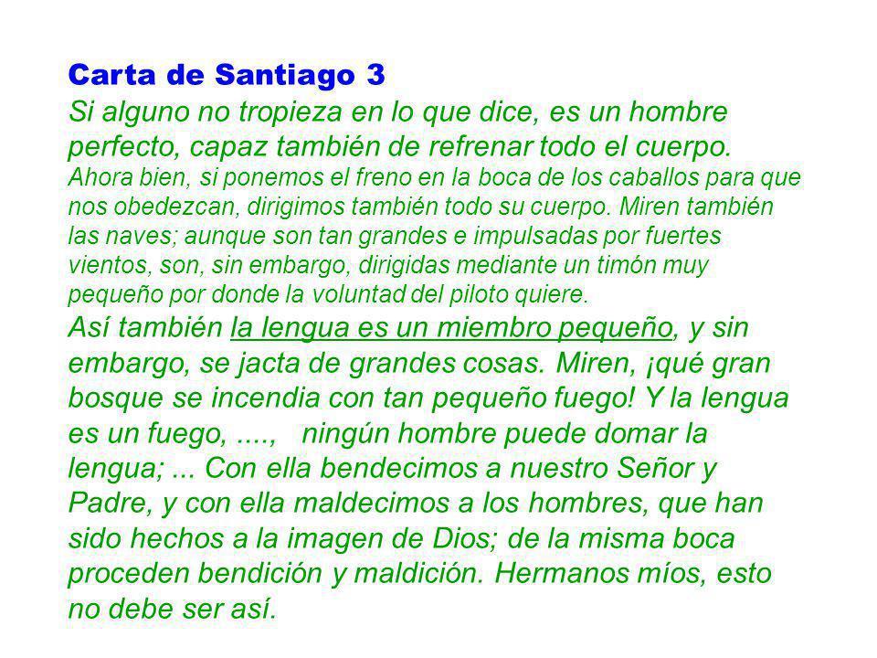 Carta de Santiago 3 Si alguno no tropieza en lo que dice, es un hombre perfecto, capaz también de refrenar todo el cuerpo. Ahora bien, si ponemos el f