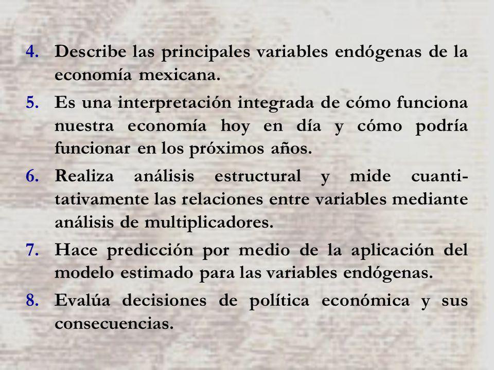 4.Describe las principales variables endógenas de la economía mexicana. 5.Es una interpretación integrada de cómo funciona nuestra economía hoy en día