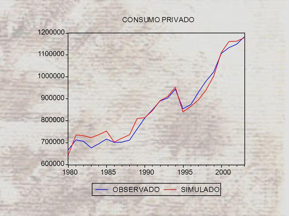 600000 700000 800000 900000 1000000 1100000 1200000 19801985199019952000 OBSERVADOSIMULADO CONSUMO PRIVADO