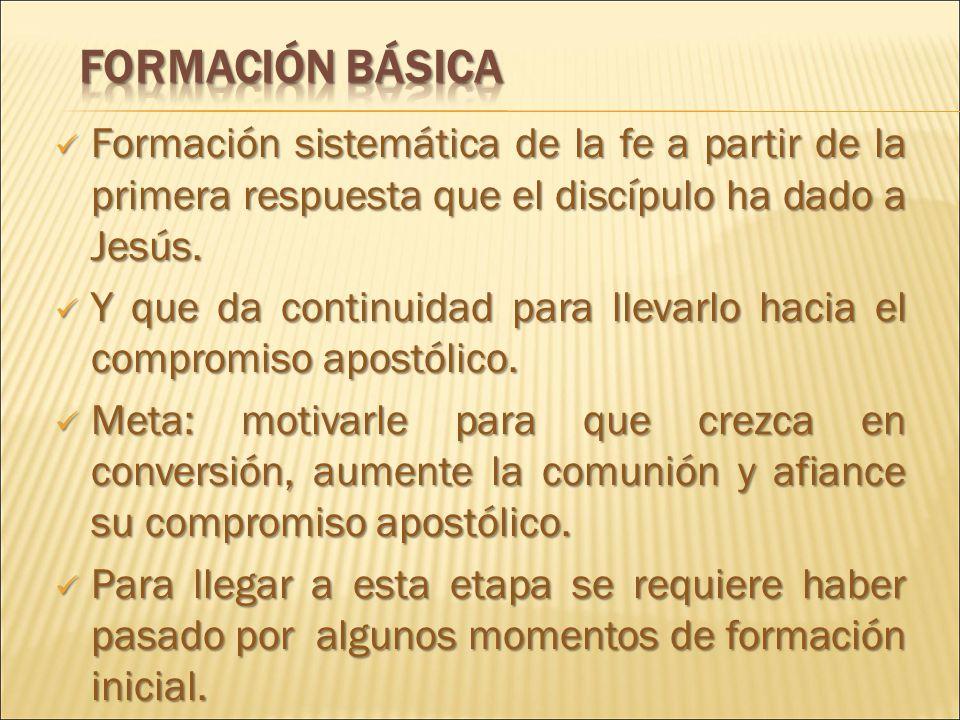 Formación sistemática de la fe a partir de la primera respuesta que el discípulo ha dado a Jesús.