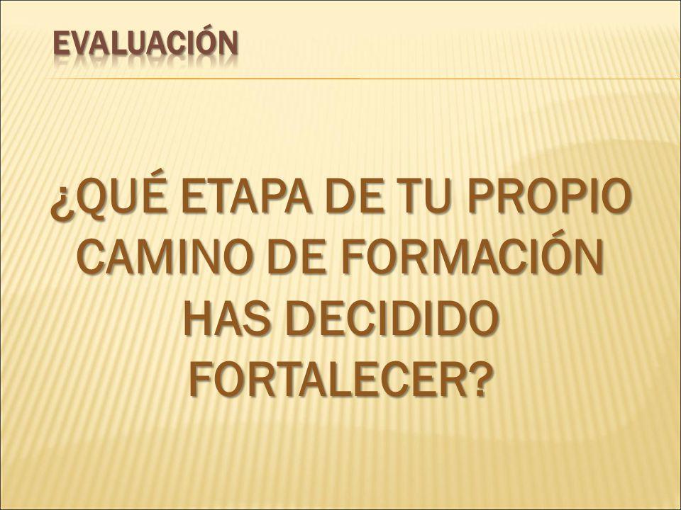 ¿QUÉ ETAPA DE TU PROPIO CAMINO DE FORMACIÓN HAS DECIDIDO FORTALECER?