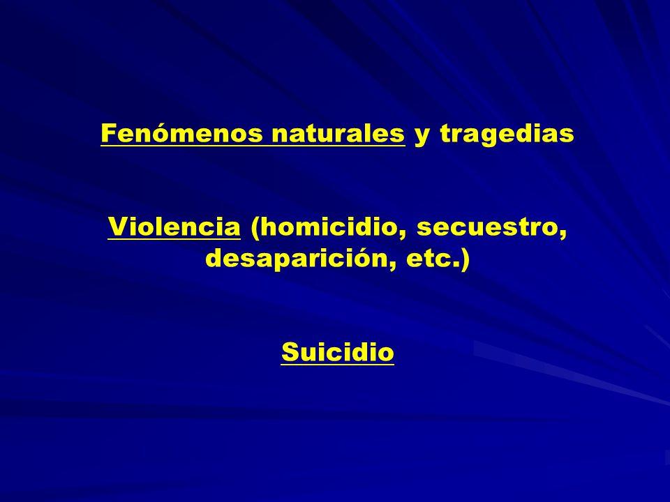 Fenómenos naturales y tragedias Violencia (homicidio, secuestro, desaparición, etc.) Suicidio