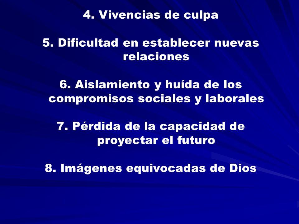 4.Vivencias de culpa 5. Dificultad en establecer nuevas relaciones 6.