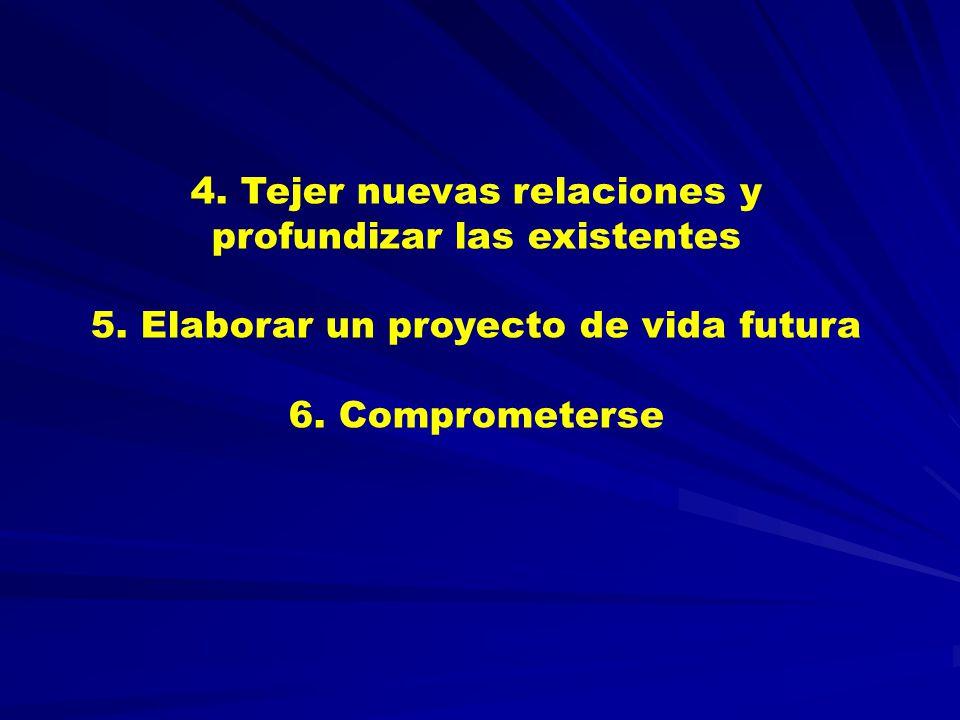 4.Tejer nuevas relaciones y profundizar las existentes 5.