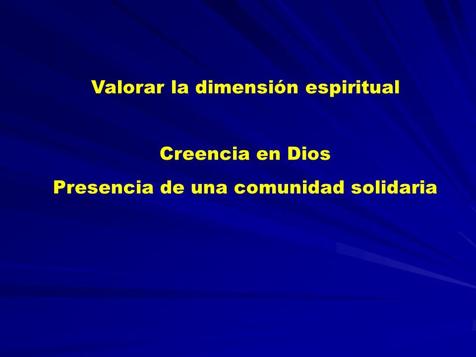 Valorar la dimensión espiritual Creencia en Dios Presencia de una comunidad solidaria