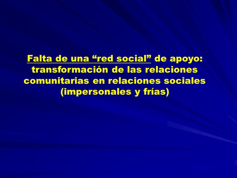 Falta de una red social de apoyo: transformación de las relaciones comunitarias en relaciones sociales (impersonales y frías)