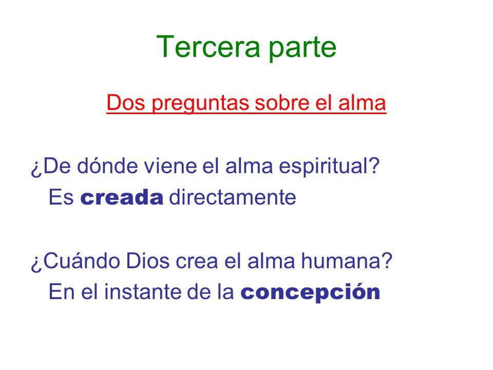Tercera parte Dos preguntas sobre el alma ¿De dónde viene el alma espiritual? Es creada directamente ¿Cuándo Dios crea el alma humana? En el instante