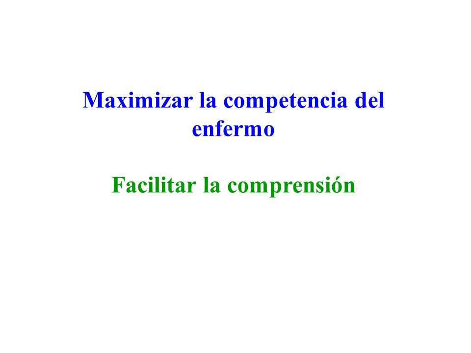 Maximizar la competencia del enfermo Facilitar la comprensión