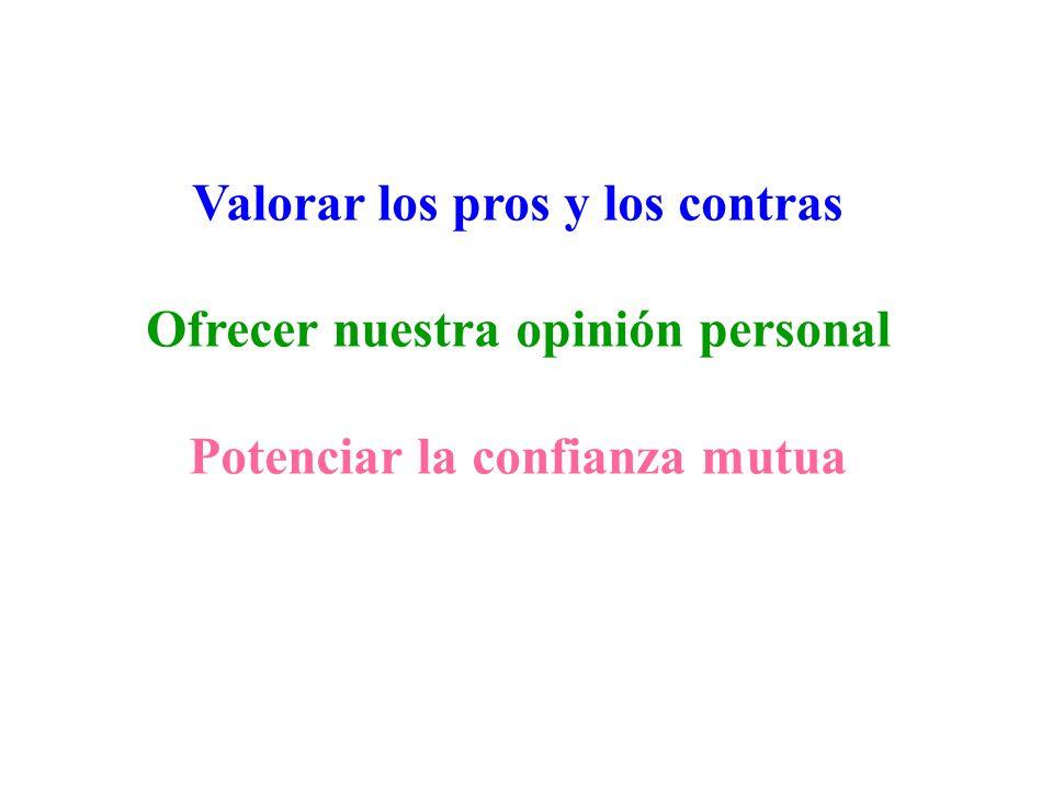 Valorar los pros y los contras Ofrecer nuestra opinión personal Potenciar la confianza mutua