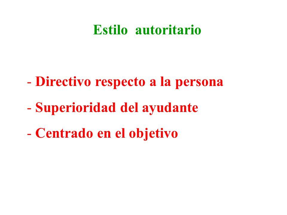 Estilo paternalista - Superioridad del ayudante - Centrado en la persona - Quita la responsabilidad a la persona ayudada