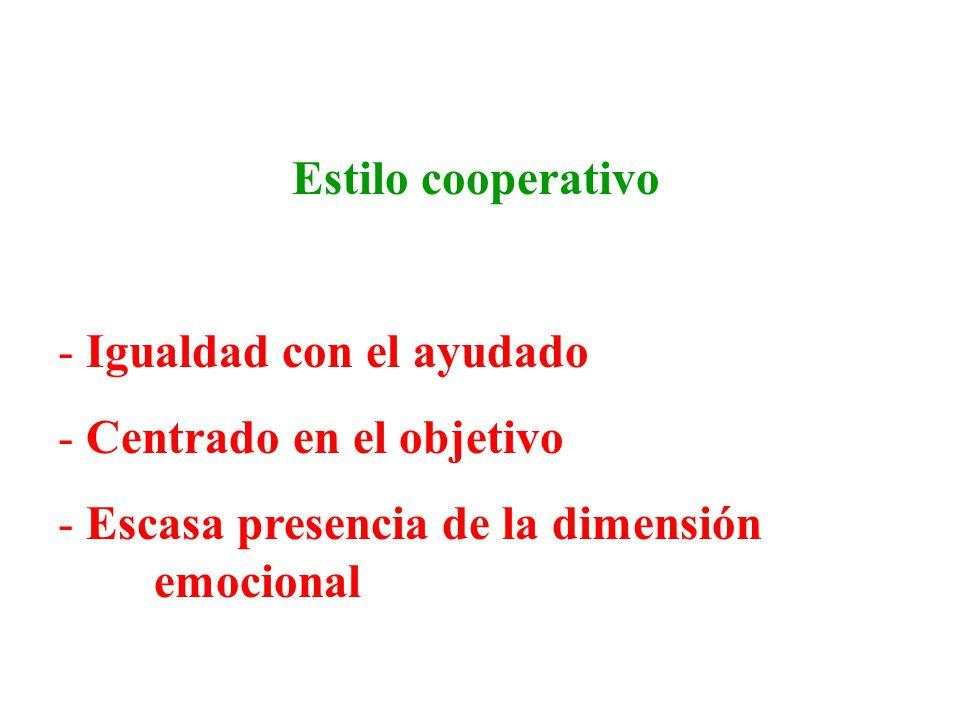 Estilo cooperativo - Igualdad con el ayudado - Centrado en el objetivo - Escasa presencia de la dimensión emocional