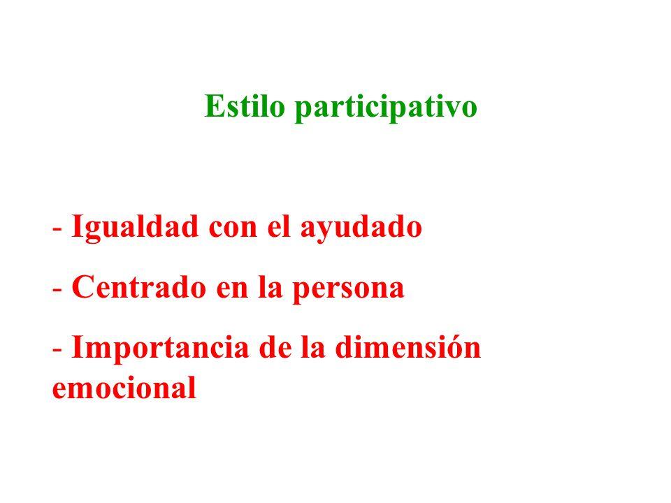 Estilo participativo - Igualdad con el ayudado - Centrado en la persona - Importancia de la dimensión emocional