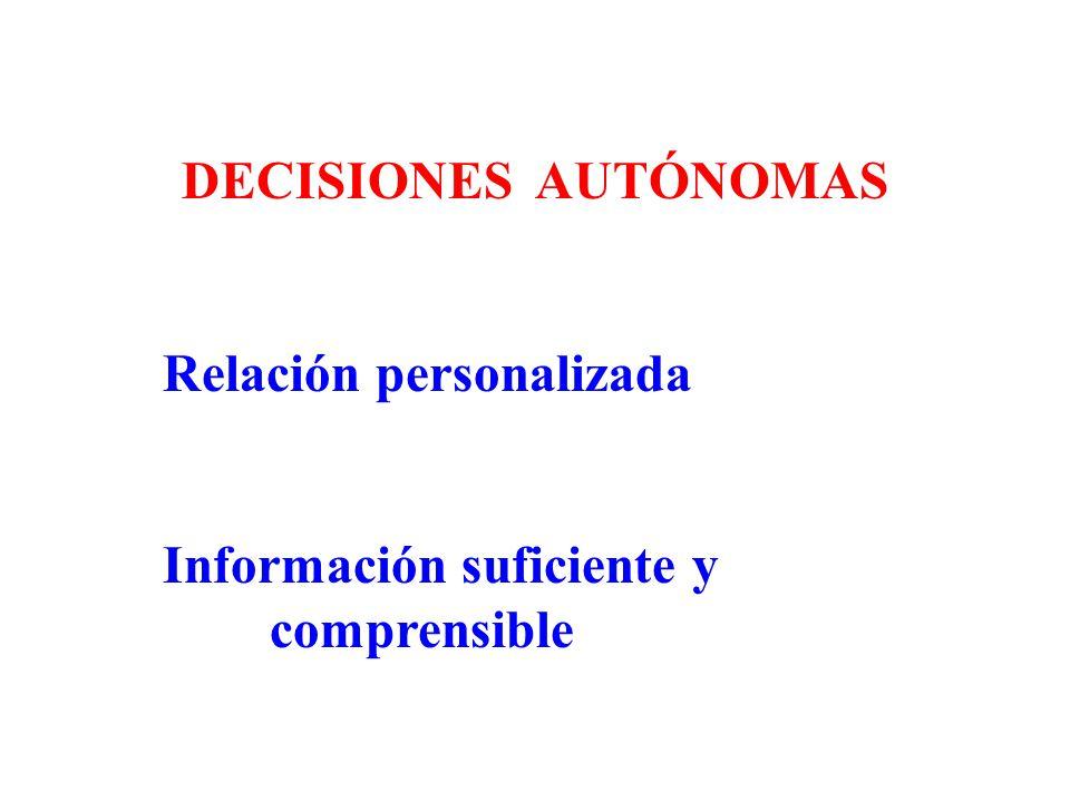 DECISIONES AUTÓNOMAS Relación personalizada Información suficiente y comprensible