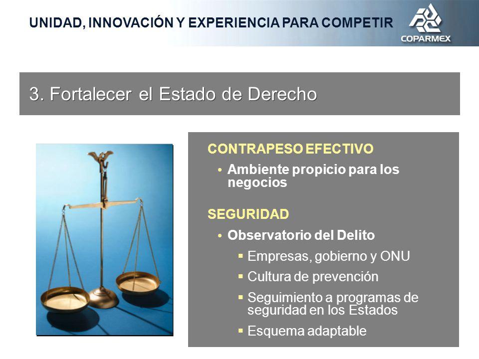 CONTRAPESO EFECTIVO Ambiente propicio para los negocios SEGURIDAD Observatorio del Delito Empresas, gobierno y ONU Cultura de prevención Seguimiento a programas de seguridad en los Estados Esquema adaptable 3.