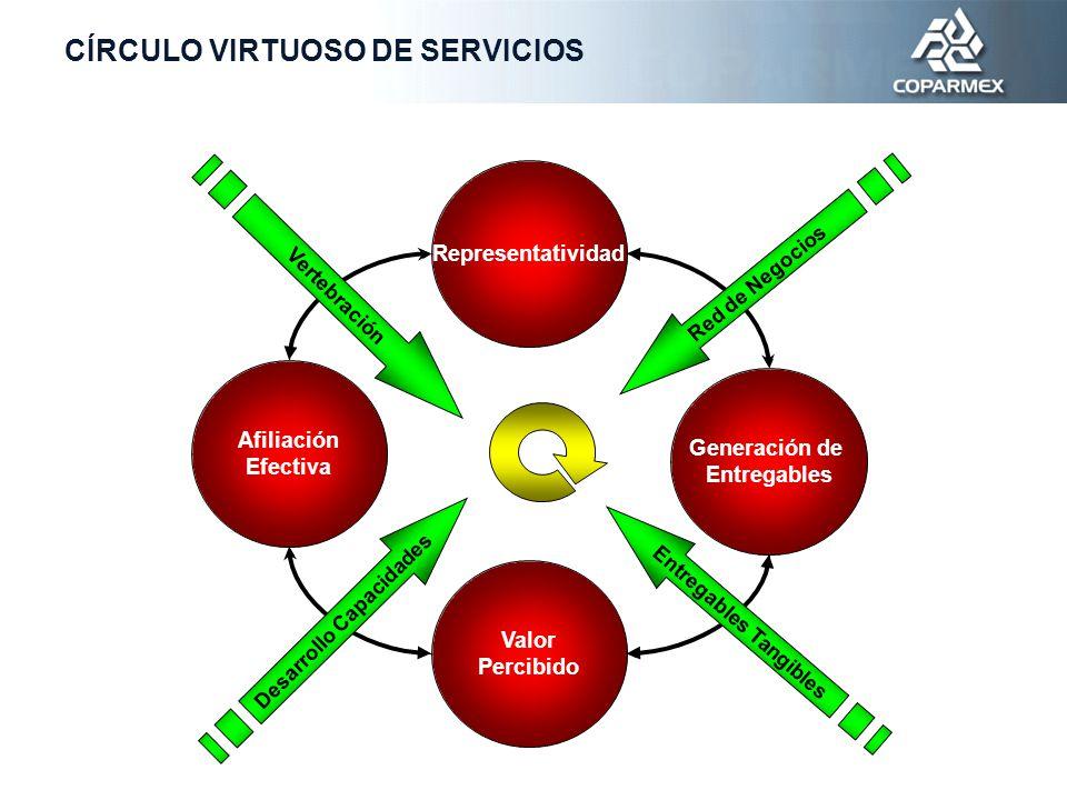 Representatividad Afiliación Efectiva Generación de Entregables Valor Percibido Desarrollo Capacidades Entregables Tangibles Vertebración Red de Negocios CÍRCULO VIRTUOSO DE SERVICIOS