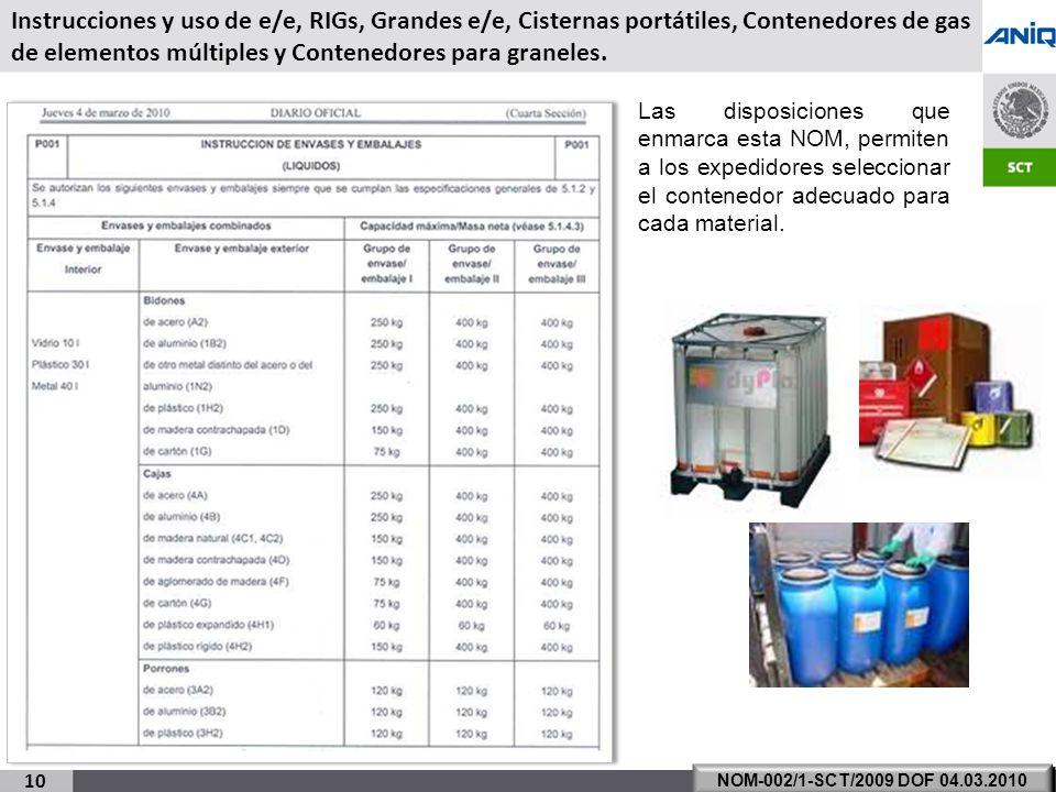 S UBSECRETARÍA DE T RANSPORTE 10 NOM-002/1-SCT/2009 DOF 04.03.2010 Las disposiciones que enmarca esta NOM, permiten a los expedidores seleccionar el contenedor adecuado para cada material.
