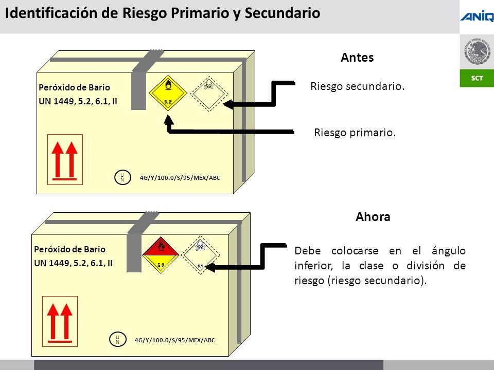 S UBSECRETARÍA DE T RANSPORTE Antes Peróxido de Bario UN 1449, 5.2, 6.1, II UNUN 4G/Y/100.0/S/95/MEX/ABC Ahora Peróxido de Bario UN 1449, 5.2, 6.1, II UNUN 4G/Y/100.0/S/95/MEX/ABC Debe colocarse en el ángulo inferior, la clase o división de riesgo (riesgo secundario).