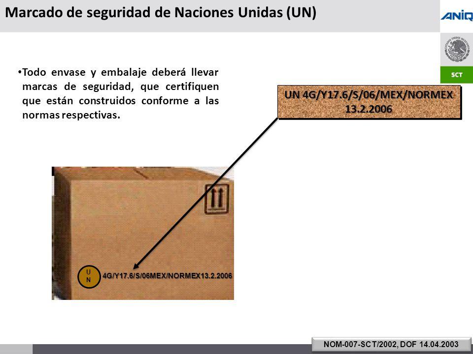 S UBSECRETARÍA DE T RANSPORTE 4G/Y17.6/S/06MEX/NORMEX13.2.2006 Todo envase y embalaje deberá llevar marcas de seguridad, que certifiquen que están construidos conforme a las normas respectivas.