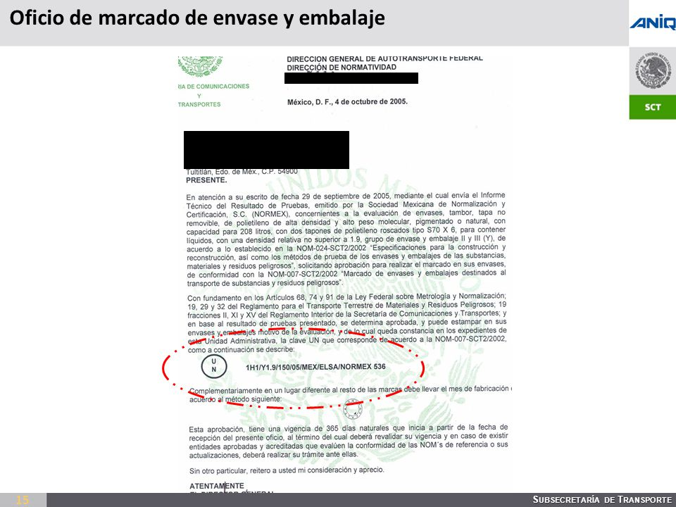 S UBSECRETARÍA DE T RANSPORTE 15 Oficio de marcado de envase y embalaje