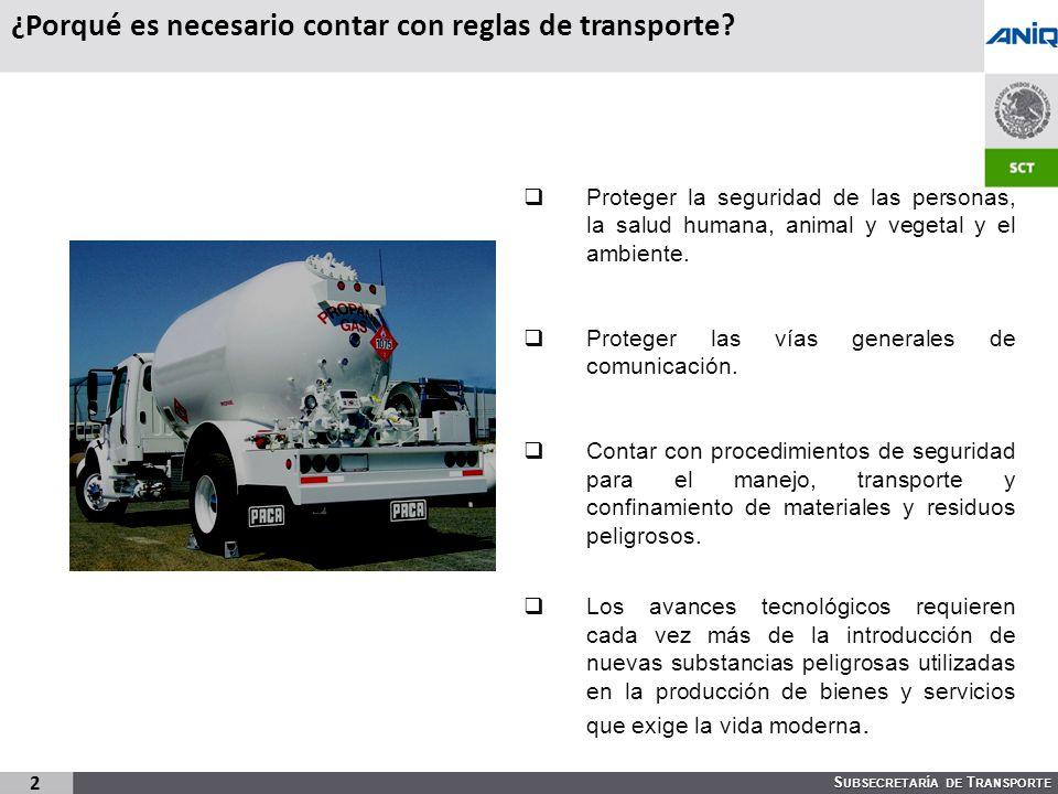 S UBSECRETARÍA DE T RANSPORTE 2 ¿Porqué es necesario contar con reglas de transporte.