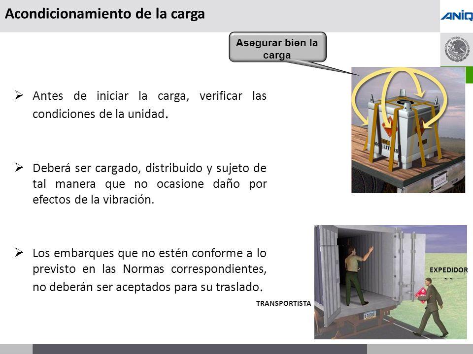 S UBSECRETARÍA DE T RANSPORTE Acondicionamiento de la carga Antes de iniciar la carga, verificar las condiciones de la unidad.