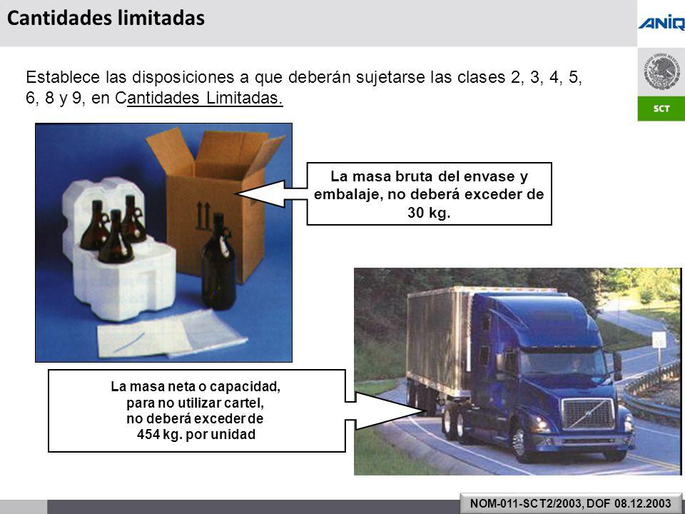 S UBSECRETARÍA DE T RANSPORTE Establece las disposiciones a que deberán sujetarse las clases 2, 3, 4, 5, 6, 8 y 9, en Cantidades Limitadas.