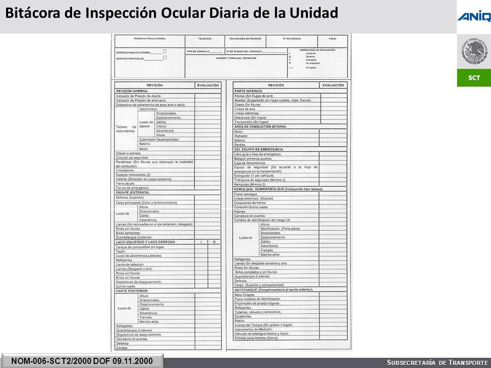 S UBSECRETARÍA DE T RANSPORTE Bitácora de Inspección Ocular Diaria de la Unidad NOM-006-SCT2/2000 DOF 09.11.2000