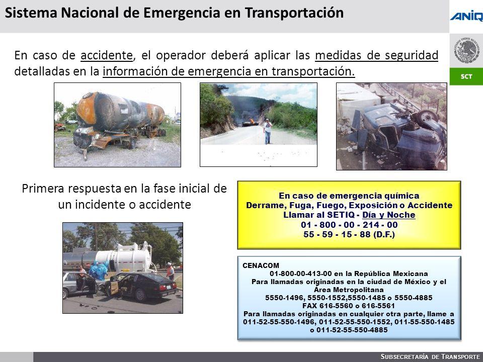 S UBSECRETARÍA DE T RANSPORTE Sistema Nacional de Emergencia en Transportación En caso de accidente, el operador deberá aplicar las medidas de seguridad detalladas en la información de emergencia en transportación.
