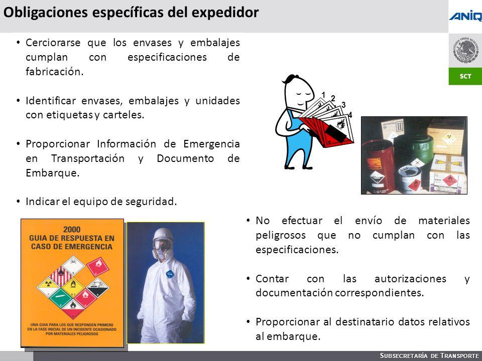 S UBSECRETARÍA DE T RANSPORTE 3221 1 2 3 4 Obligaciones específicas del expedidor Cerciorarse que los envases y embalajes cumplan con especificaciones de fabricación.