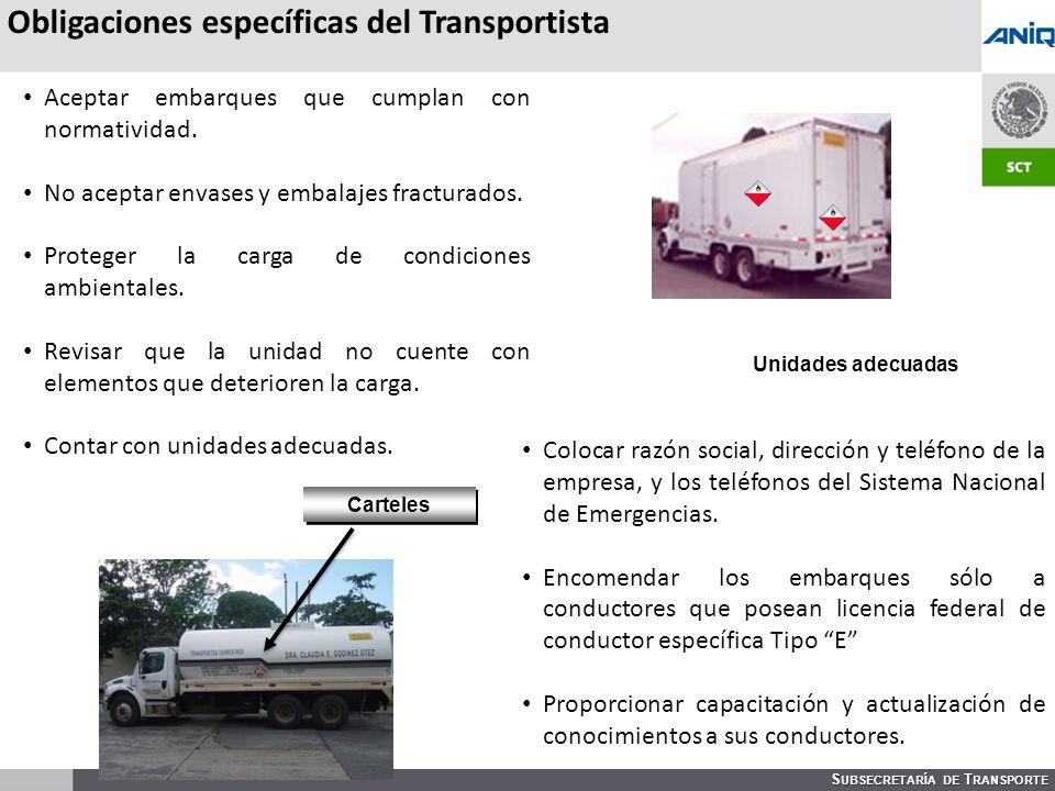 S UBSECRETARÍA DE T RANSPORTE Carteles Obligaciones específicas del Transportista Unidades adecuadas Aceptar embarques que cumplan con normatividad.