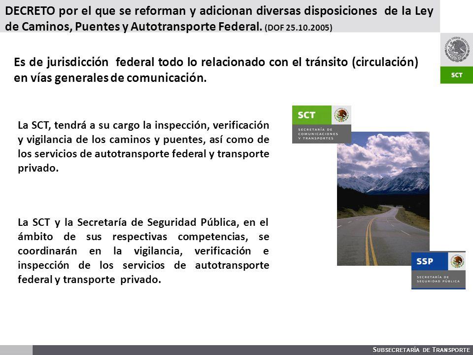 S UBSECRETARÍA DE T RANSPORTE DECRETO por el que se reforman y adicionan diversas disposiciones de la Ley de Caminos, Puentes y Autotransporte Federal.