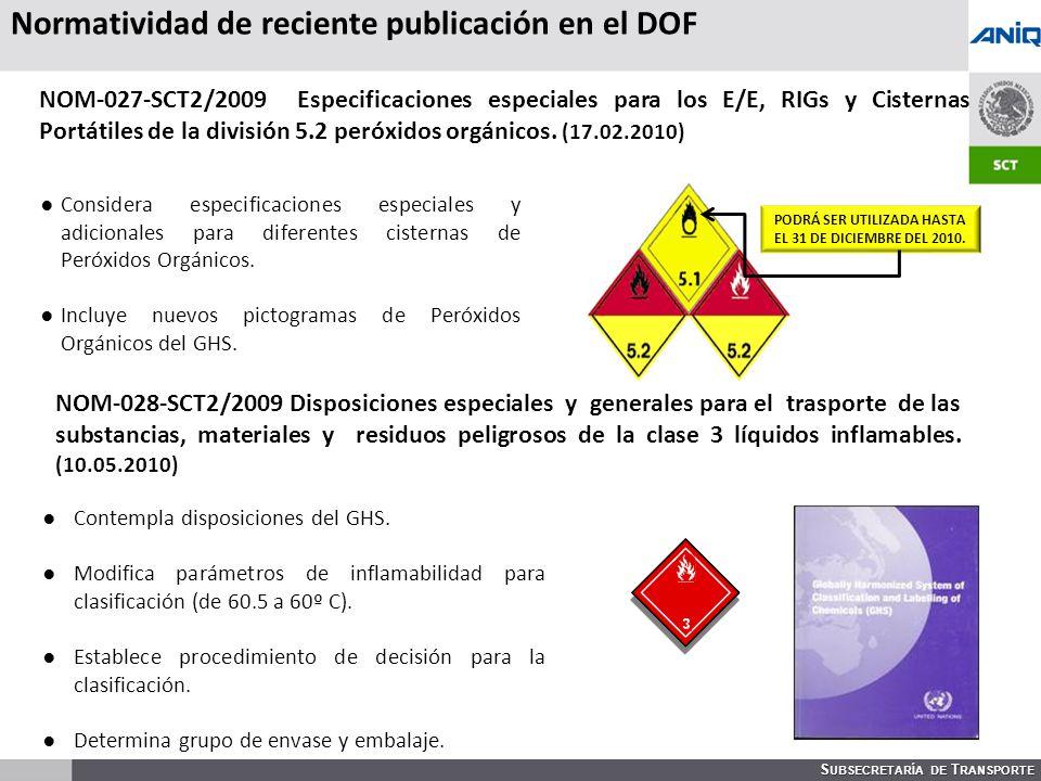 S UBSECRETARÍA DE T RANSPORTE Considera especificaciones especiales y adicionales para diferentes cisternas de Peróxidos Orgánicos.