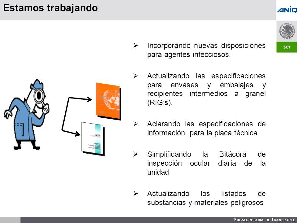S UBSECRETARÍA DE T RANSPORTE Estamos trabajando Incorporando nuevas disposiciones para agentes infecciosos.