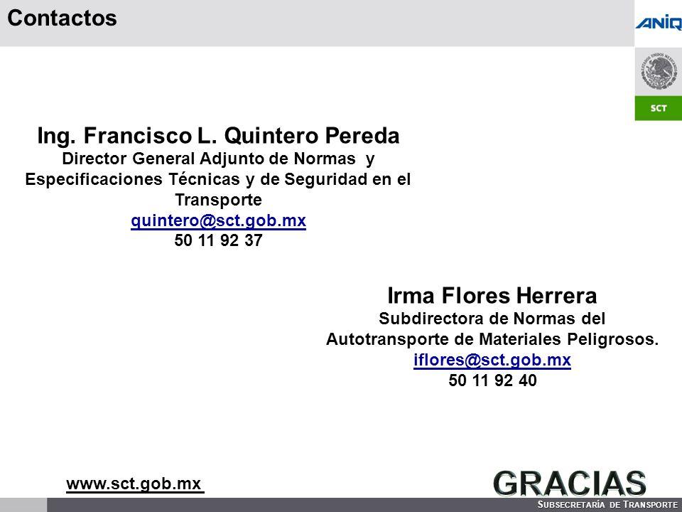 S UBSECRETARÍA DE T RANSPORTE Contactos Ing.Francisco L.