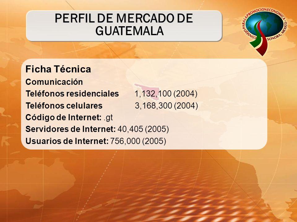 Ficha Técnica Comunicación Teléfonos residenciales 1,132,100 (2004) Teléfonos celulares 3,168,300 (2004) Código de Internet:.gt Servidores de Internet: 40,405 (2005) Usuarios de Internet: 756,000 (2005) PERFIL DE MERCADO DE GUATEMALA