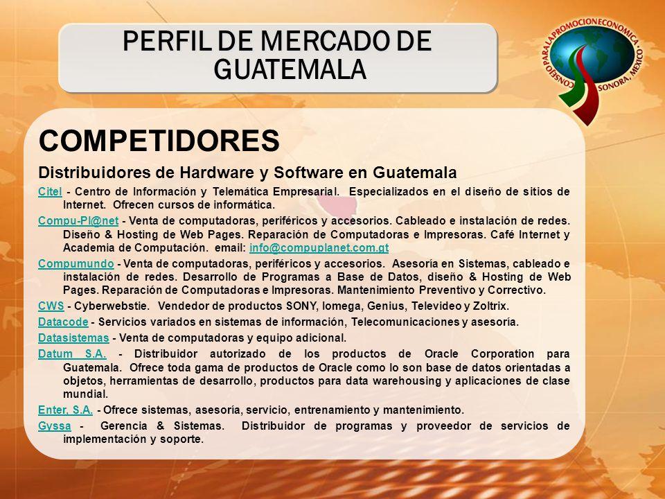 COMPETIDORES Distribuidores de Hardware y Software en Guatemala CitelCitel - Centro de Información y Telemática Empresarial. Especializados en el dise