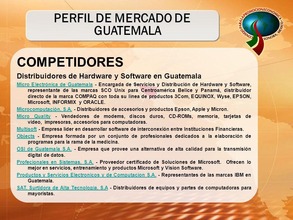 COMPETIDORES Distribuidores de Hardware y Software en Guatemala Micro Electrónica de GuatemalaMicro Electrónica de Guatemala - Encargada de Servicios y Distribución de Hardware y Software, representante de las marcas SCO Unix para Centroamérica Belice y Panamá, distribuidor directo de la marca COMPAQ con toda su línea de productos 3Com, EQUINOX, Wyse, EPSON, Microsoft, INFORMIX y ORACLE.