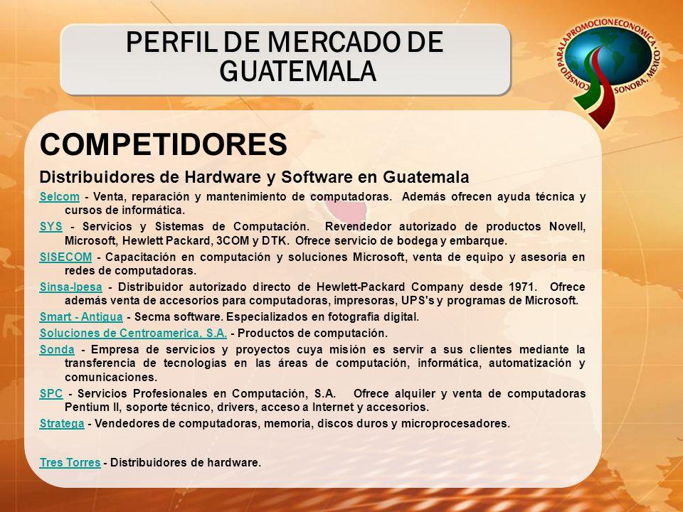 COMPETIDORES Distribuidores de Hardware y Software en Guatemala SelcomSelcom - Venta, reparación y mantenimiento de computadoras. Además ofrecen ayuda